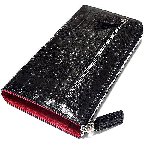 792a04ccbd46 長財布 クロコダイル 本革 レザー 財布 ジッパー ワニ革 カイマン ロングウォレット WA04