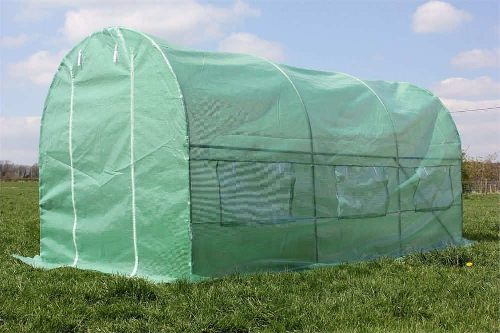 Palm Springs 15 x 7 x 7ft Polytunnel Walk in Greenhouse-Strong Anti-Rust Frame