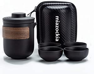 Travel Tea Set, Chinese Kung Fu Tea set 1 Pot 4 Mini Cups,Wood Handle Tea Pot Set with Portable Bag for Travel, Home,Outdoor and Office