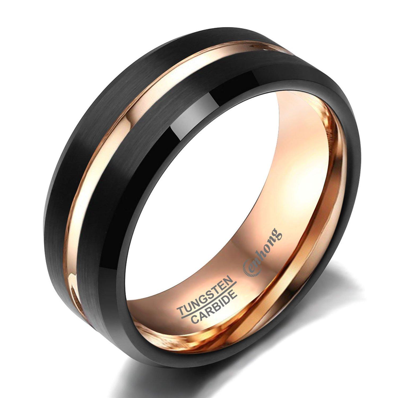 enhong Mens Tungsten Carbide Rings 8mm Black Matte Finish Weding Band 18K Rose Gold Plated Beveled Edge Wedding Ring By 7