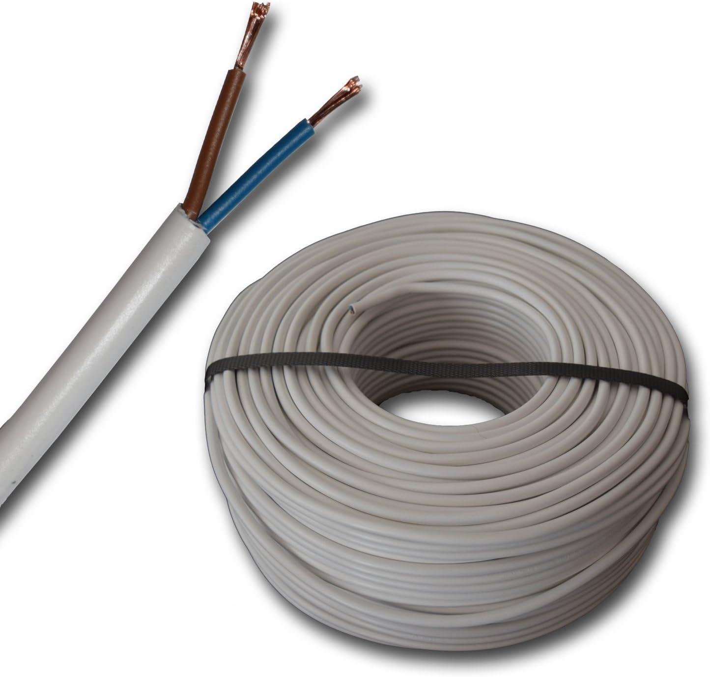 Kunststoff Schlauchleitung rund LED Kabel Leitung Ger/ätekabel H05VV-F 2x1,5 mm/² - Farbe: wei/ß 5m//10m//15m//20m//25m//30m//35m//40m//45m//50m//55m//60m usw mm2 bis 100 m in 5 Meter Schritten frei w/ählbar