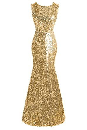 35244dba632 Topdress Women s Mermaid Long Bridesmaid Dress Sequins Wedding Party Prom Gown  Gold ...