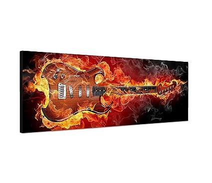 Cuadro en Lienzo como Panorama 120 x 40 cm Rock Guitarra Fuego Humo humos