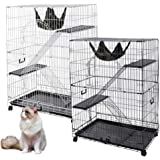 """51""""x35""""x22"""" Large Cat Pets Wire Cage 2 Door Playpen + Free Hammock Brand New Home Crate(White Vein)"""