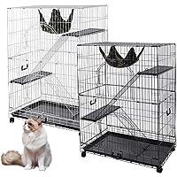 "Yescom 51""x36""x22"" Large Cat Pets Wire Cage 2 Door Playpen w/Hammock 2 Ramp Ladders (White Vein)"