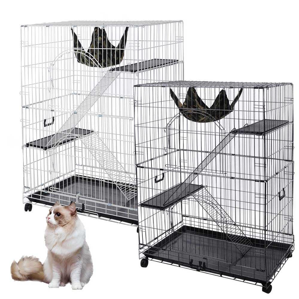 YesHom 51''x36''x22'' Large Cat Pets Wire Cage 2 Door Playpen w/Hammock 2 Ramp Ladders (Black Vein)
