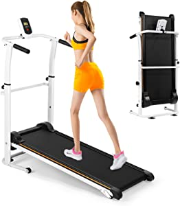 Folding Manual Walking Treadmill, Non-Electric Incline Machine with LCD Monitor Display and Twin Flywheels for Home Gym, Cardio Stride Fitness Exercise Workouts Training Indoor
