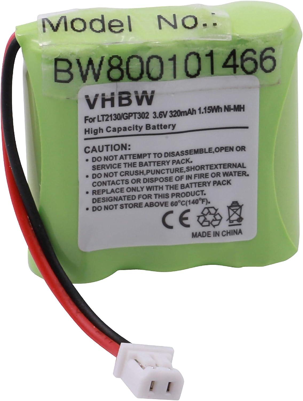 vhbw NiMH batería 320mAh (3.6V) para teléfono inalámbrico Sagem D10T y LT2130.