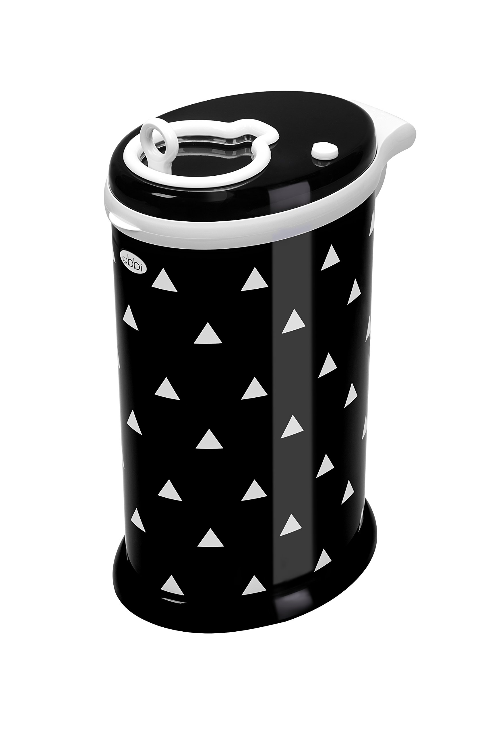 Ubbi Money Saving, No Special Bag Required, Steel Odor Locking Diaper Pail, Black Triangles