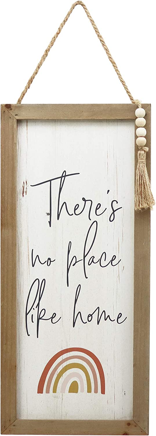 There's No Place Like Home Wood Framed Farmhouse Wall Hanging Art with Jute Hanger, Antique Wood Wall Decor Sign with Inspirational Quotes and Rainbow Pattern