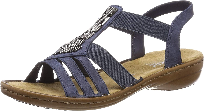 Rieker Damen Sandalen Sandaletten Sandale blau 628G6 NEU!!