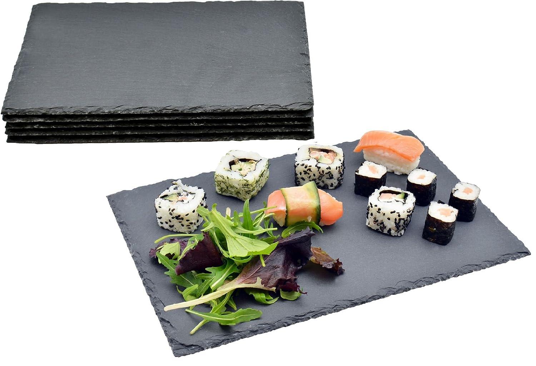 Argon Tableware Rectangular Natural Slate Serving Plates/Platters - Set Of 6