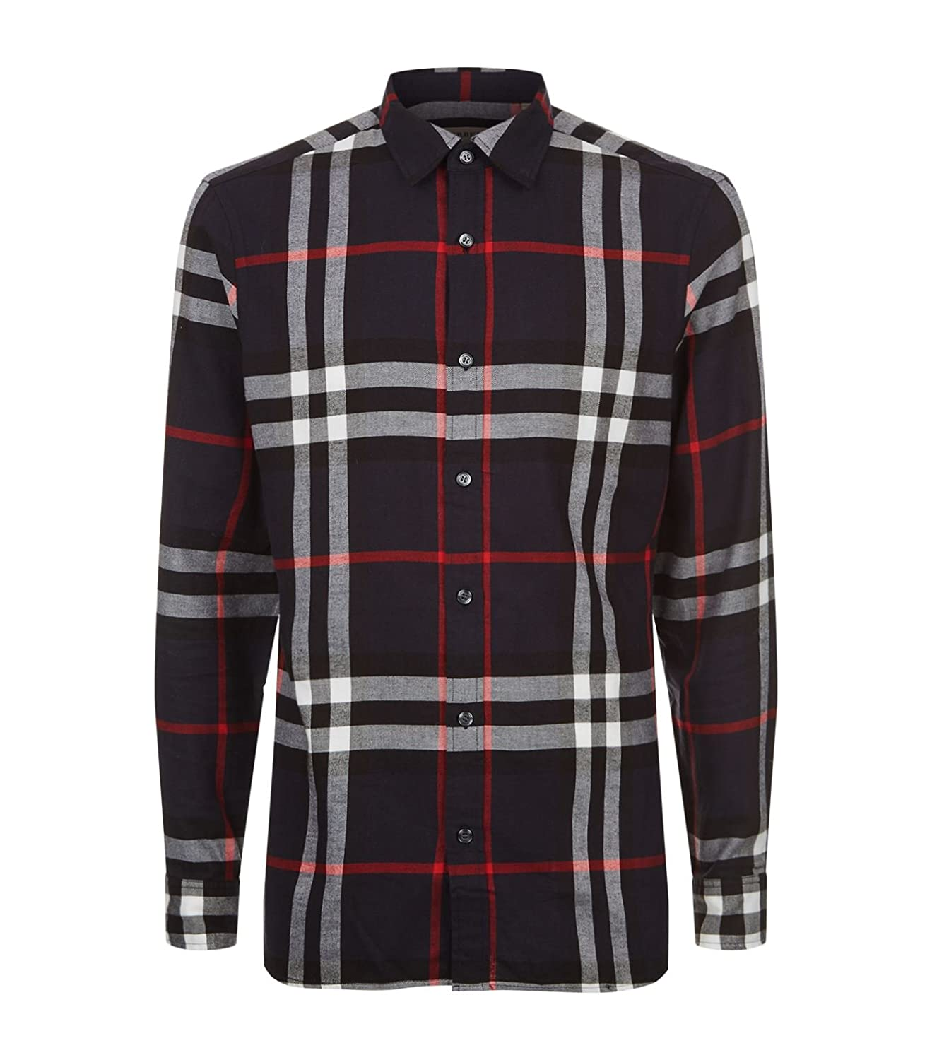 56046f9f BURBERRY Men's Salwick Flannel Blue Check Cuff Shirt (S) at Amazon Men's  Clothing store: