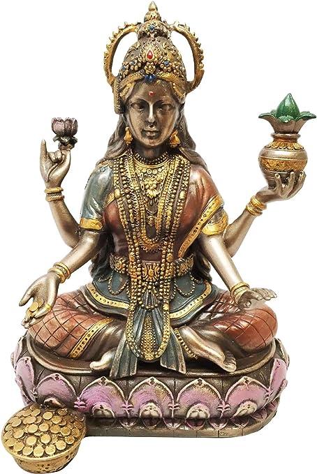Ebros Hindu Goddess Saraswati Playing Veena with Swan Figurine Sitting On Peacock Lotus Throne Hinduism Deity Decor Altar Sculpture Eastern Enlightenment
