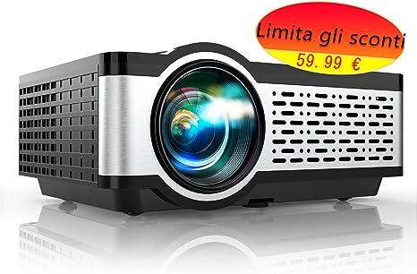 TOPTRO - Proyector de vídeo, pequeño, portátil, 5500 lm, compatible con Full HD 1080p, retroproyector LCD con altavoz de alta fidelidad, cubierta de metal, led de 60 000 horas, cine en casa