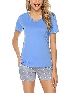 Hawiton Womens Cotton Pajamas Set Striped Shorts Sleepwear Lounge Light Grey//Black//Pink