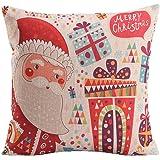 Nunubee Joyeux Noël Linge de Coton Housse de Coussin Carré Taie d'oreiller 45 x 45 cm, Décoration de Noël 5
