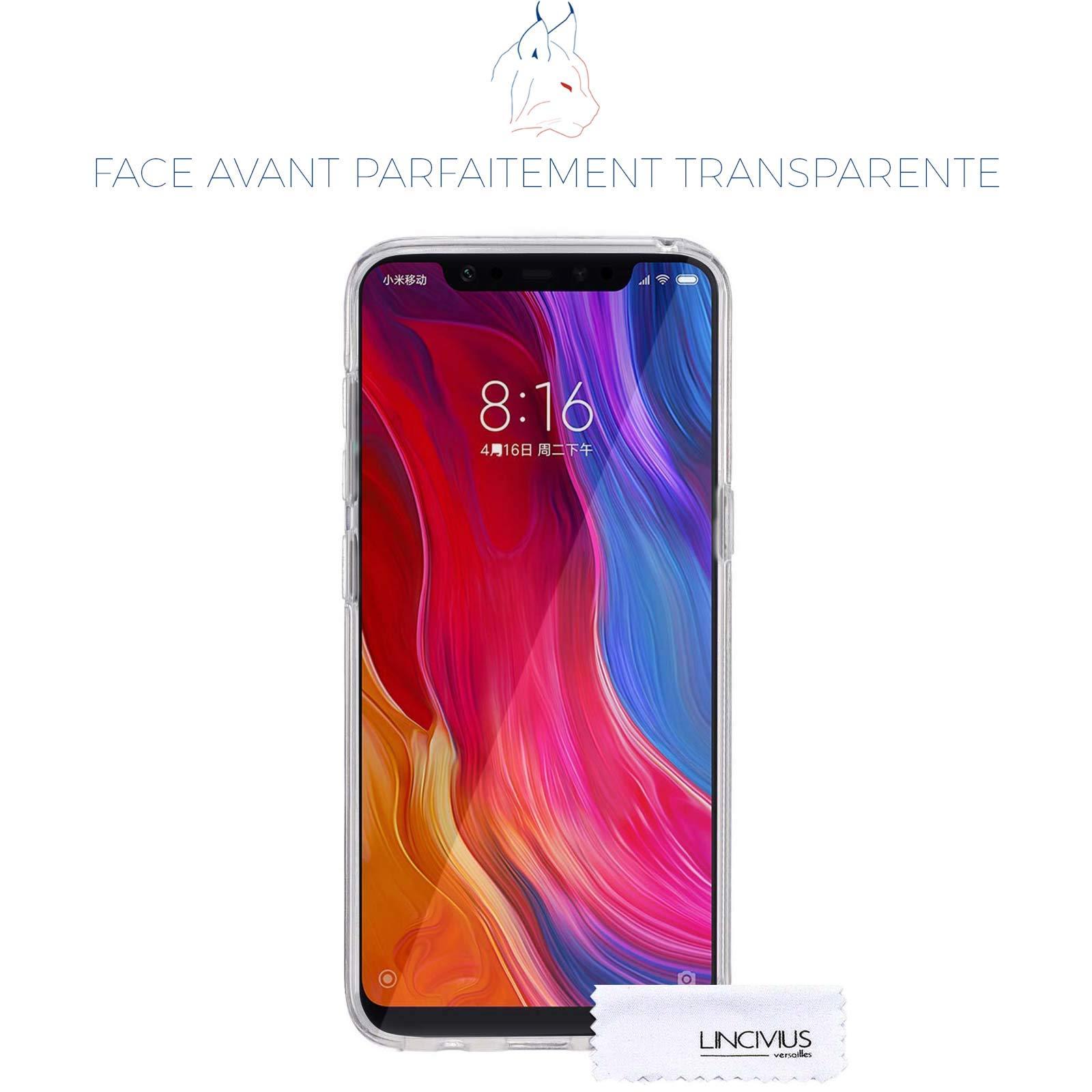 LINCIVIUS  Coque Integrale Compatible avec Xiaomi Mi 8, Coque de Protection 2 en 1 Bumper Transparent Silicone Avant Et Arrière Contour Bumper Rigide pour Xiaomi Mi 8, Transparent