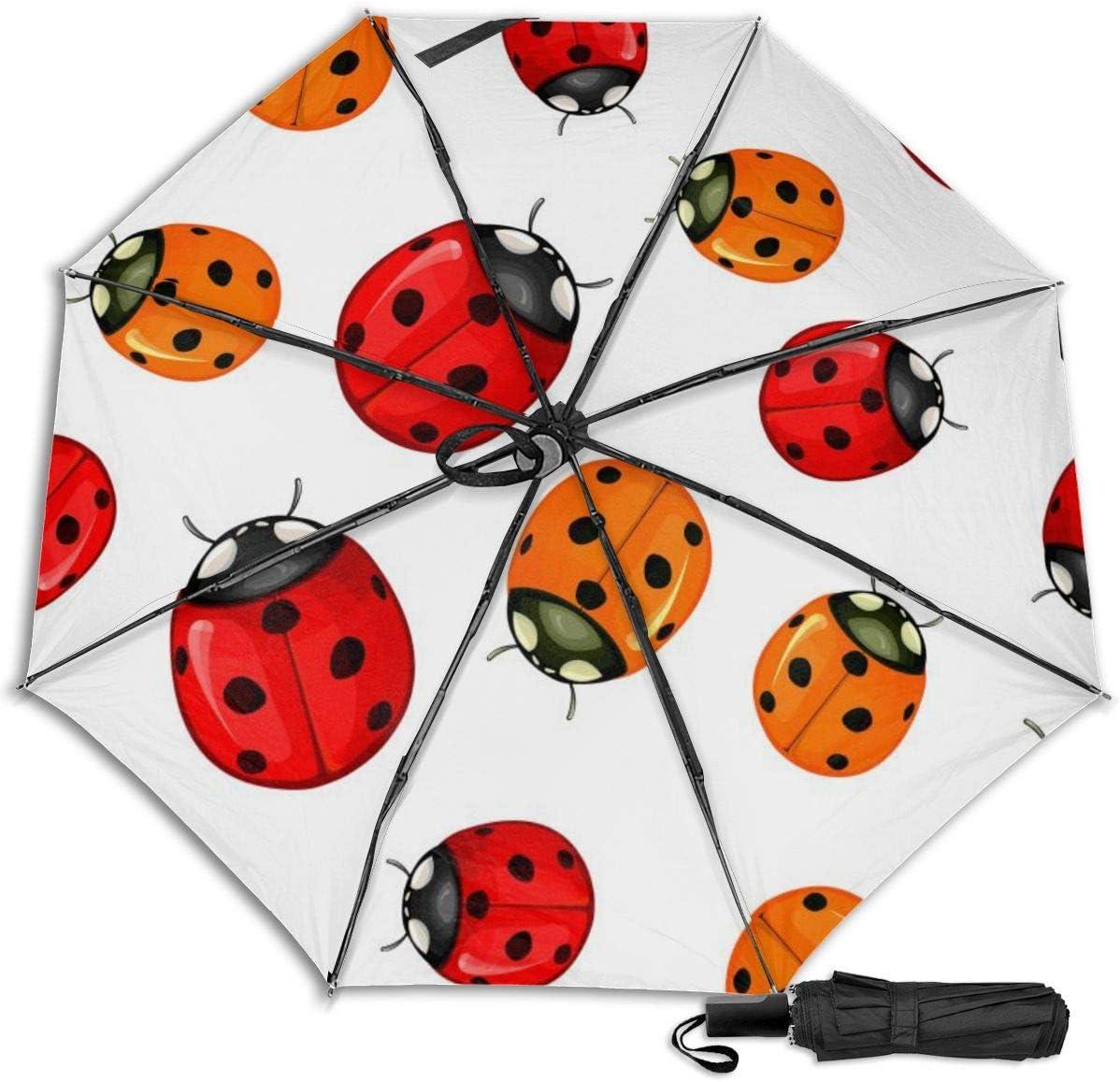 Red Ladybug Windproof Travel Umbrella Manual Tri-fold Umbrella