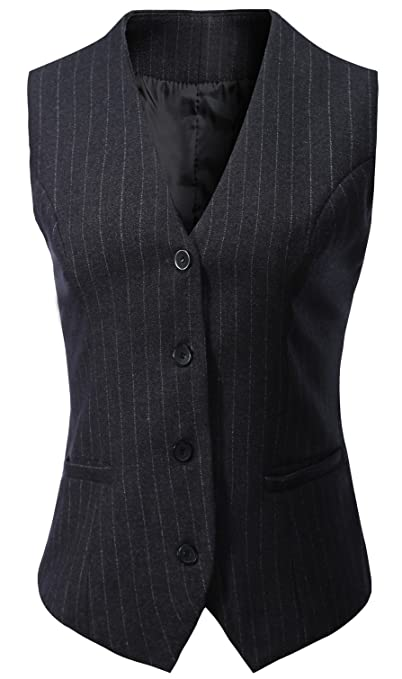 1920s Style Blouses, Shirts, Sweaters, Cardigans Vocni Womens Fully Lined 4 Button V-Neck Economy Dressy Suit Vest Waistcoat $23.99 AT vintagedancer.com