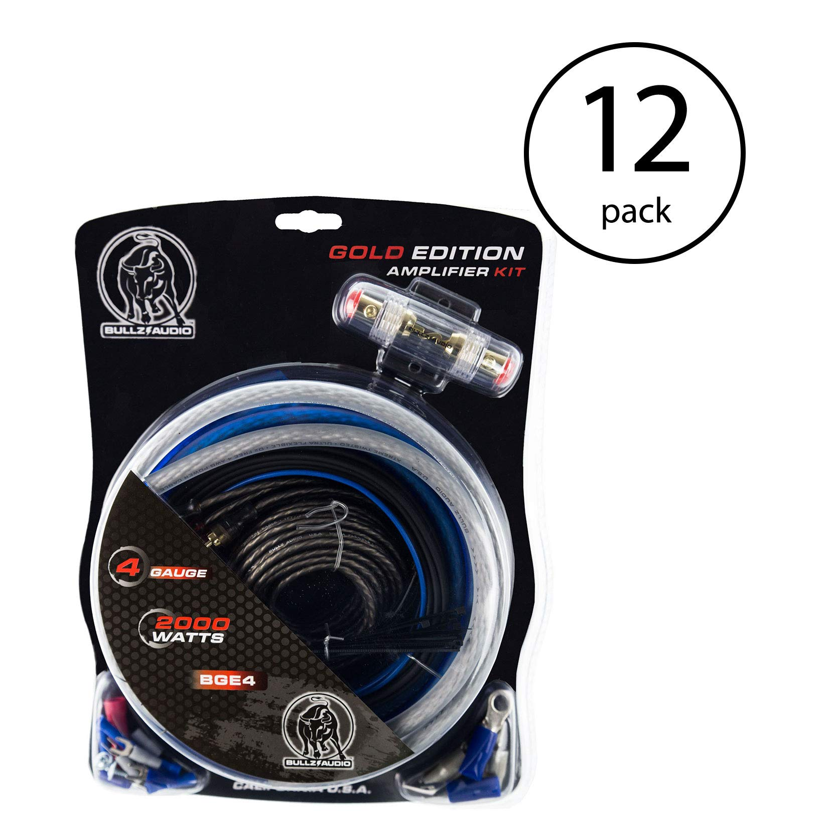 Bullz Audio 4 Gauge 2000W Car Audio Amplifier Installation Power Amp Wiring Kit (12 Pack)
