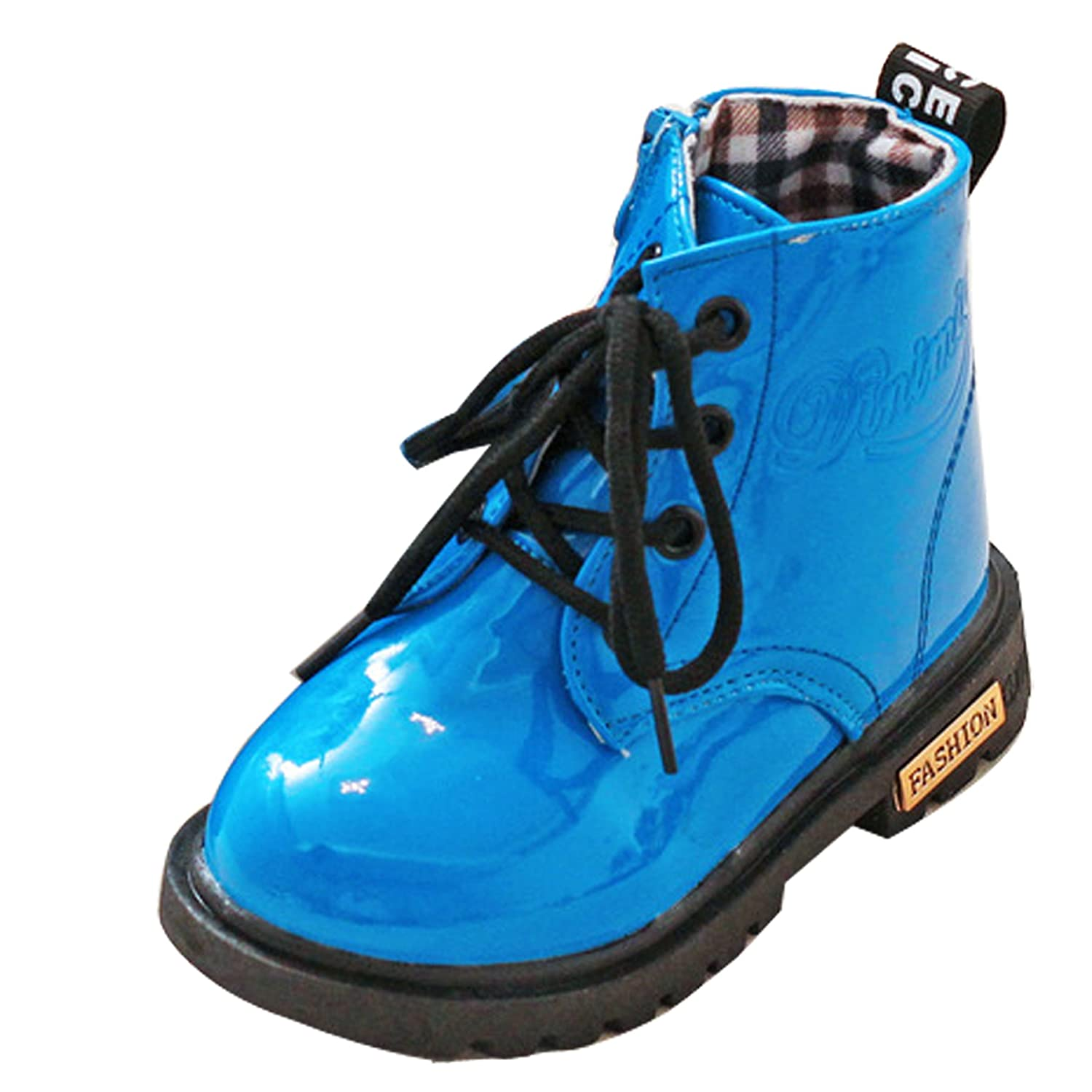 Baby Boy Girl Kids Children Ankle Biker Martin Boots Lace-up Patent Waterproof Boots