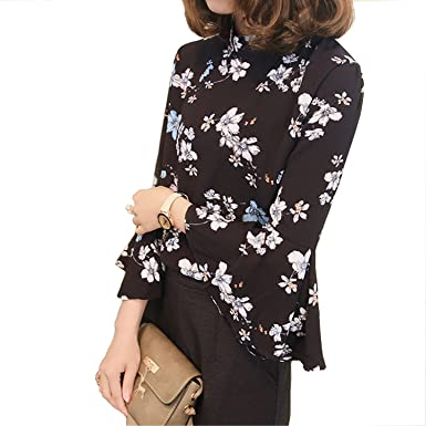 New Autumn Floral Chiffon Blouse Women Tops Flare Sleeve Shirt Women Ladies Office Blouse Korean Fashion