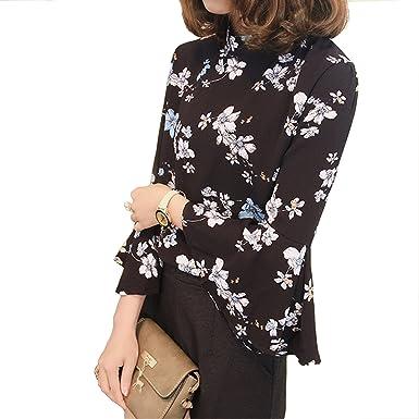 New Autumn Floral Chiffon Blouse Women Tops Flare Sleeve Shirt Women Ladies Office Blouse Korean Fashion