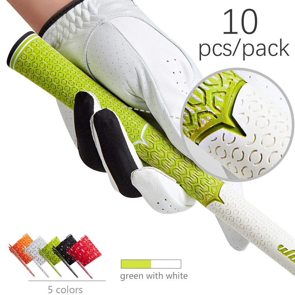 wosofe Golf Grips-Golf Club Irons Grips Set Cotton Cord Slip Resistant Rubber Golf Driver Wedge Grips for Men White Green 10pcs