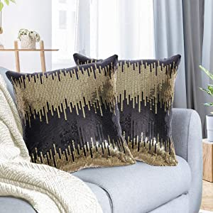 Juya Delight Black and Gold Sequin Throw Pillowcases Sparkle Pillow Cushion Covers for Couch Sofa Home Decor,18x18 inches, Set of 2