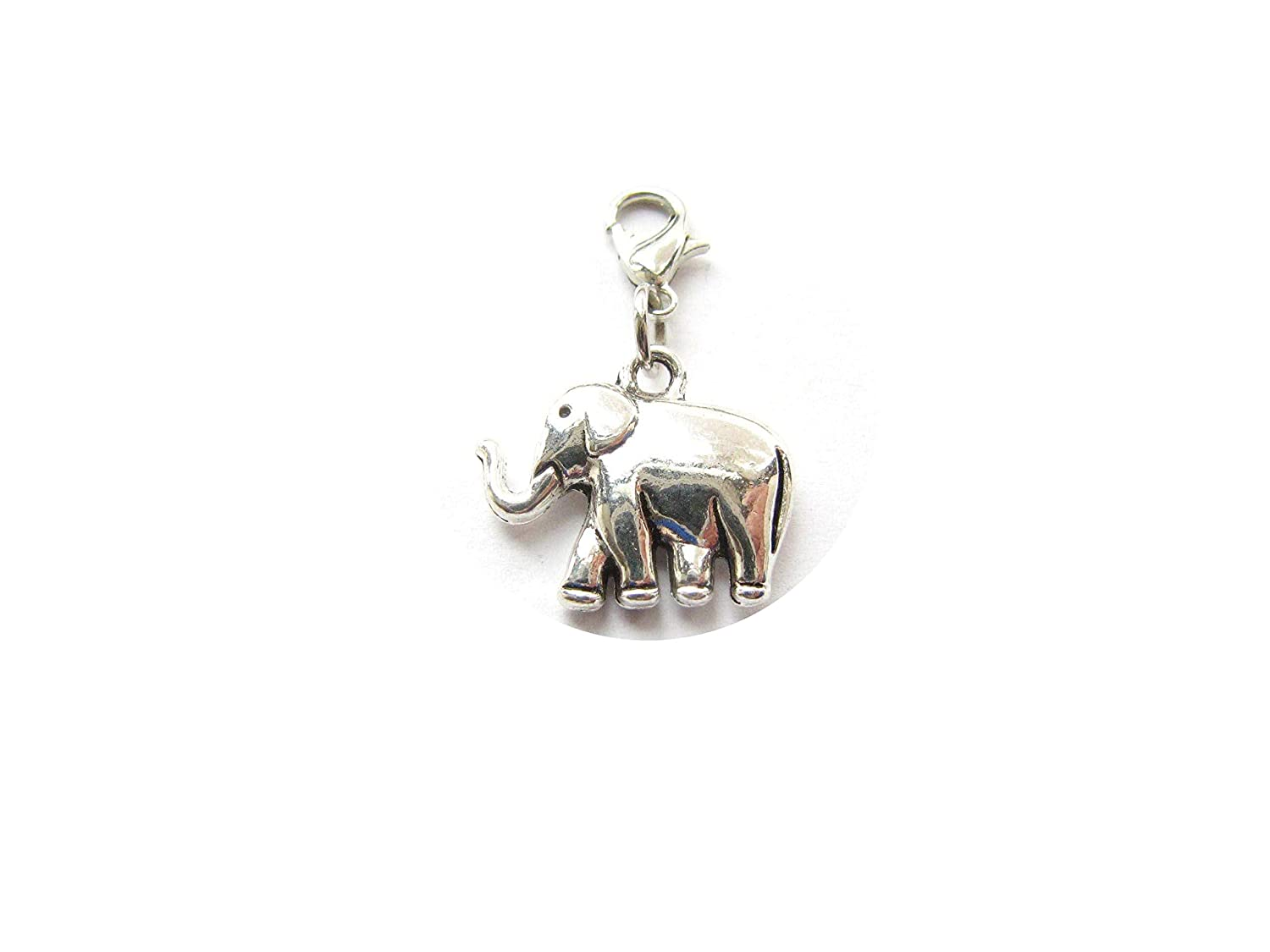 Lucky Elephant Clip-On Charm with Lobster Clasp-zipper pull #1 Charm Bracelets Necklace Charm Purse Charm