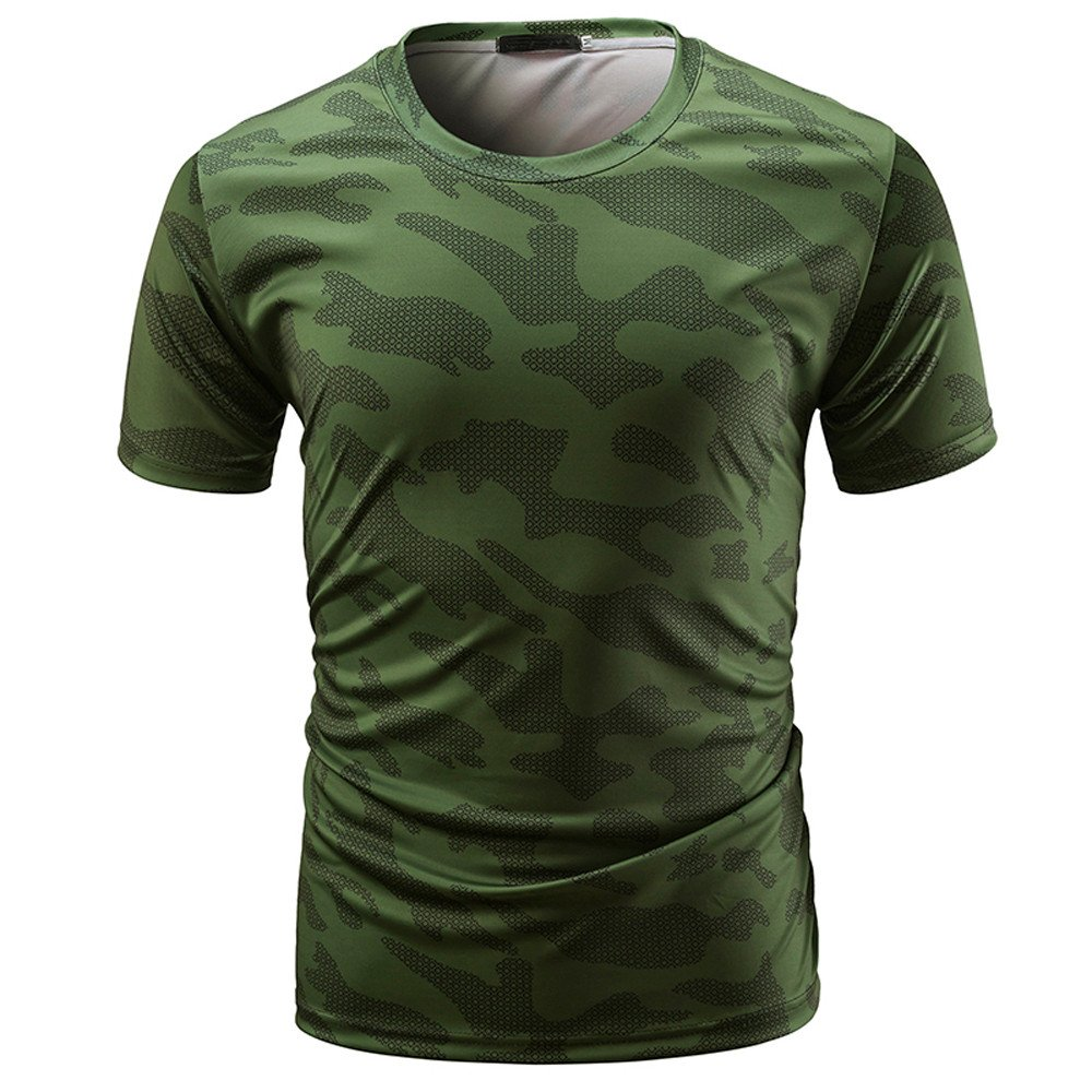 Xlala Men's Short Sleeve Casual Camouflage Print O Neck Pullover T Shirt Slim Fit Fitness Motion Top Blouse Hippie Novelty Clothing (Army Green, M)