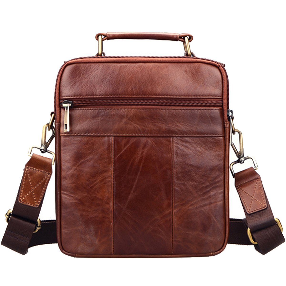Sunmig Men's Genuine Leather Shoulder Bag Messenger Briefcase CrossBody Handbag (Brown) by Sunmig (Image #5)