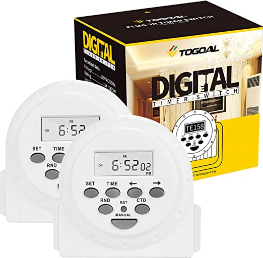 1 Pack Digital Electrical Timer Plug Socket 24 Hours//7 Day Weekly Programmable Light Switch with Anti-Theft Mode and Countdown Function