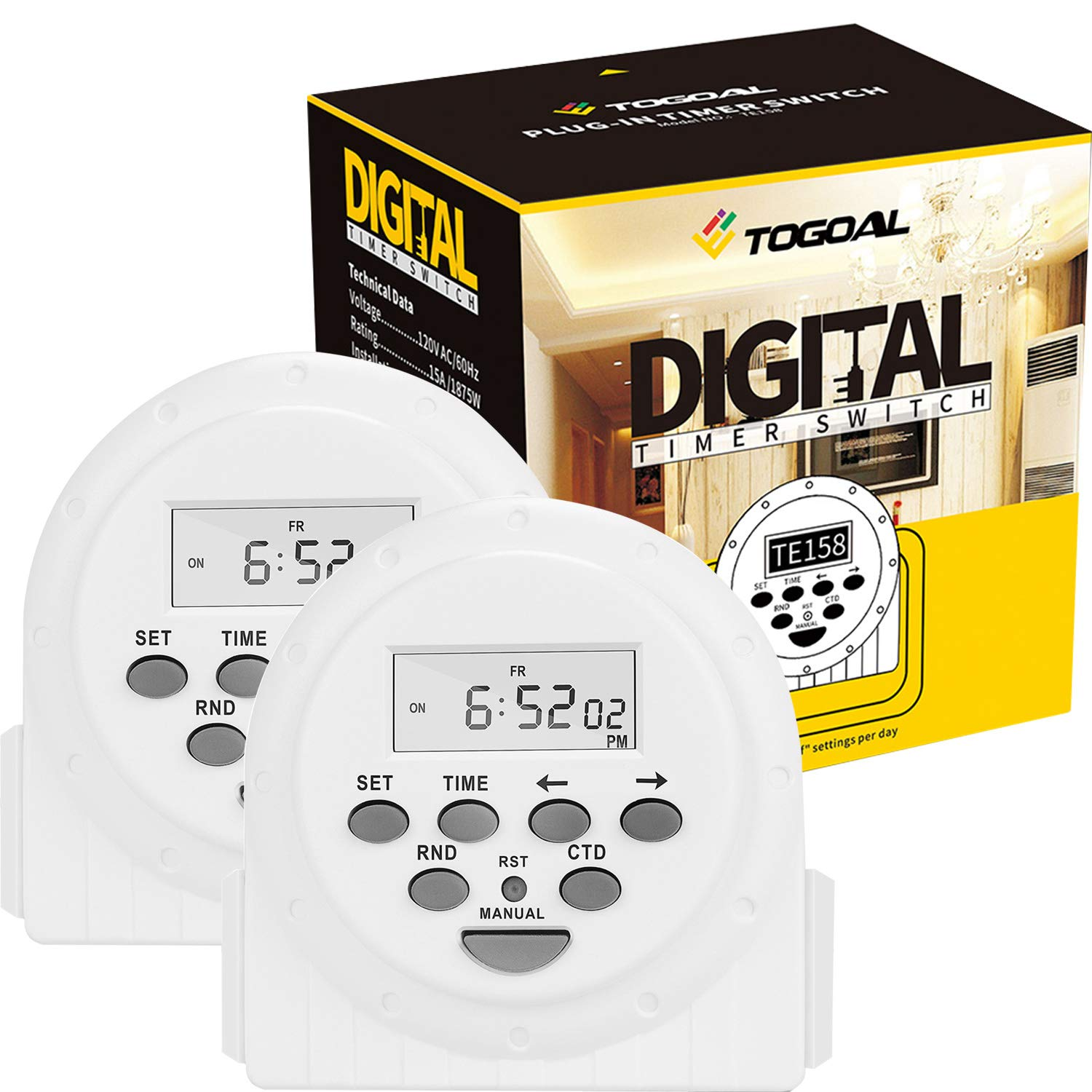 TOGOAL Dual Sided Outlets Digital Light Timer Plug with Countdown and Anti-theft Random Option,7 Day/24 Hour Programmable,2 Pack (15A, 1800W) by TOGOAL