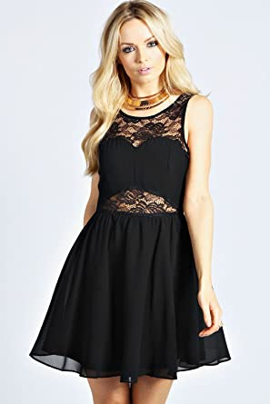 Womens Felicity Lace Open Back Chiffon Skirt Netted Prom Dress - 8 - Black