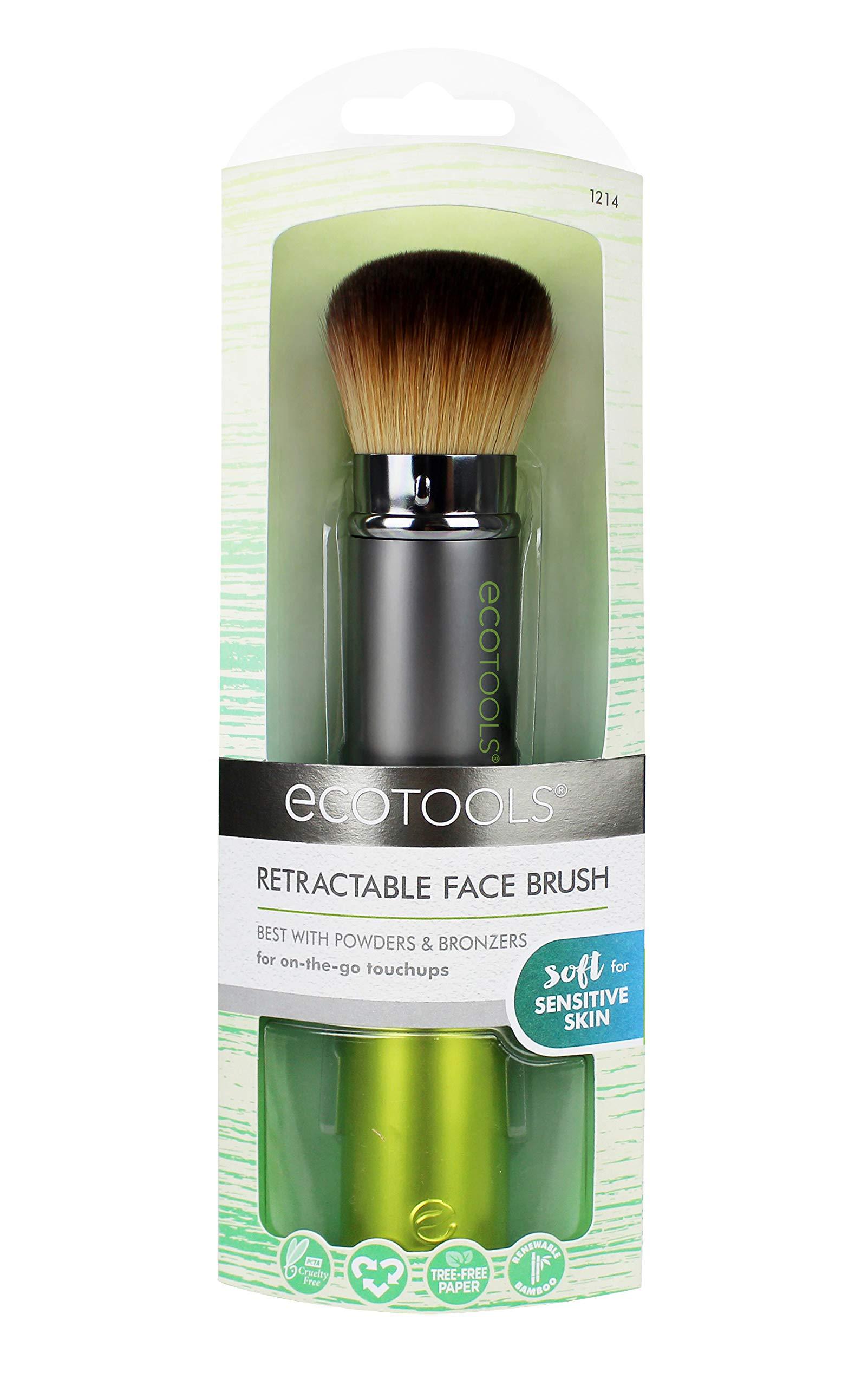 EcoTools Travel Kabuki Makeup Brush for Foundation, Blush, Bronzer, and Powder, Retractable