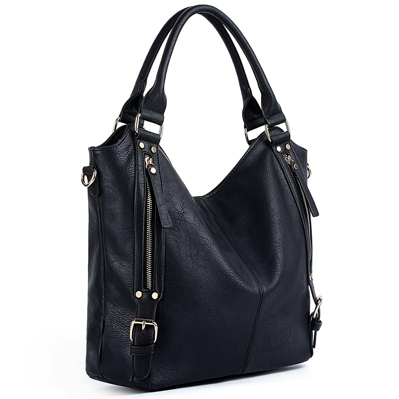 UTO Women Handbags Hobo Shoulder Bags Tote PU Leather Handbags Fashion Large Capacity Bags (_Black) by UTO