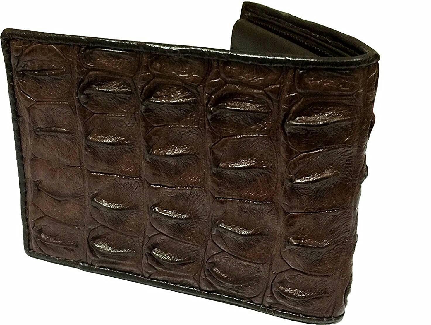 e5d8903b44c7 Authentic Crocodile Skin Men's Big backbone Bifold Shiny Dark Brown Wallet