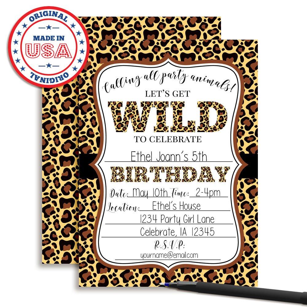 Amazon.com: Leopard Print Wild Birthday Party Invitations, Ten 5\
