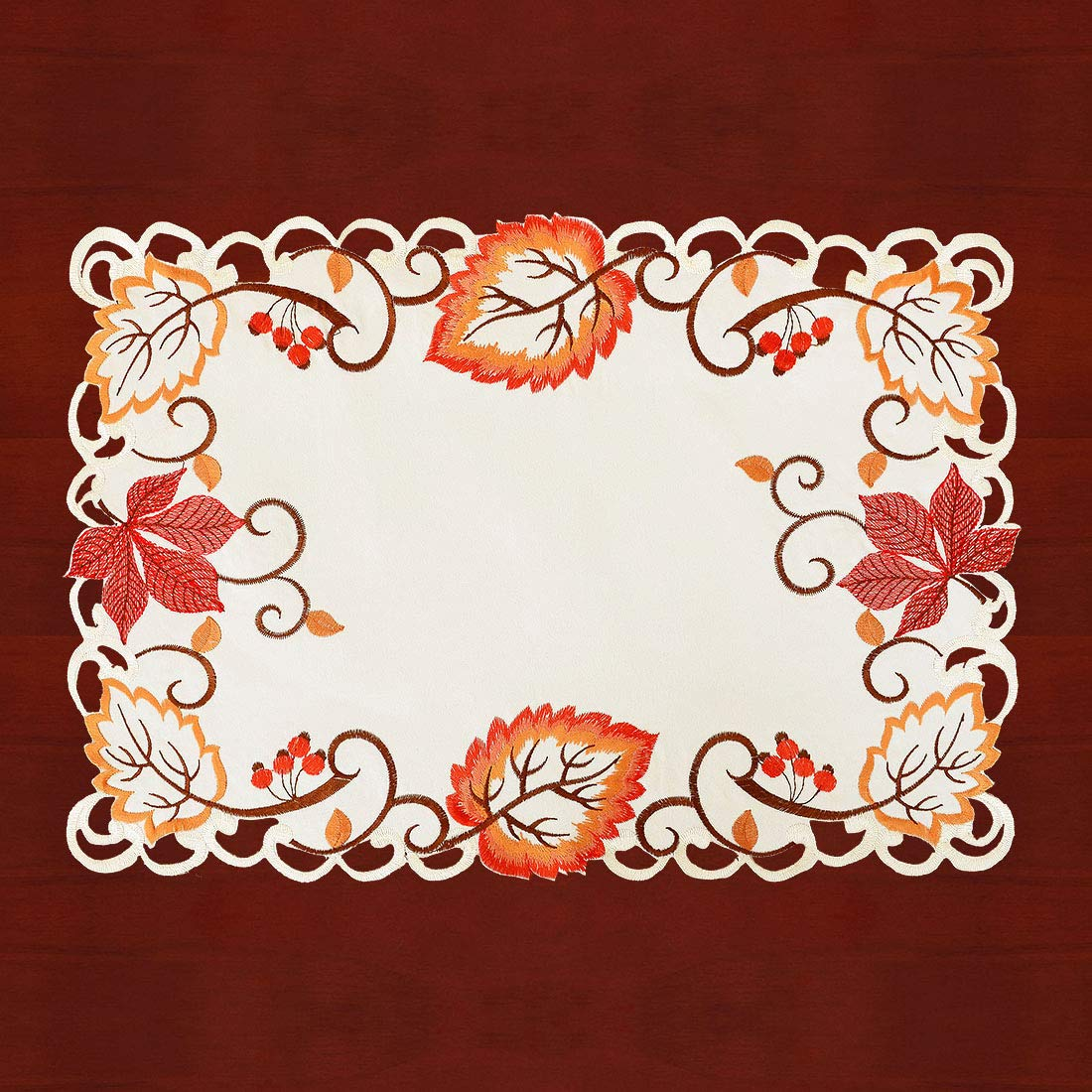 13 /× 19 Inch Set of 4 Simhomsen Decorative Thanksgiving Fall Maple Leaves Table Placemats