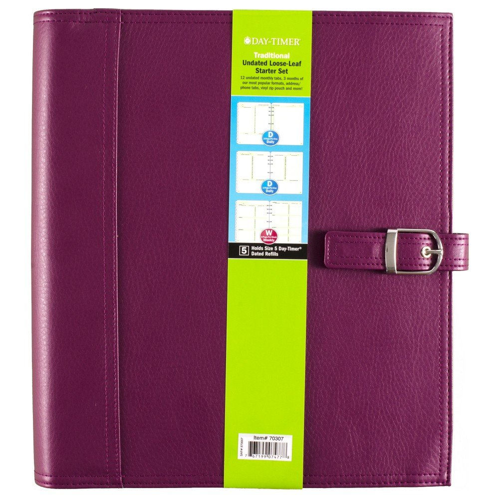 Day-Timer Undated Loose-Leaf Starter Set, Size 5, Traditional, 8.5 x 11 Inch Page Size, Purple (70307) by Day-Timer