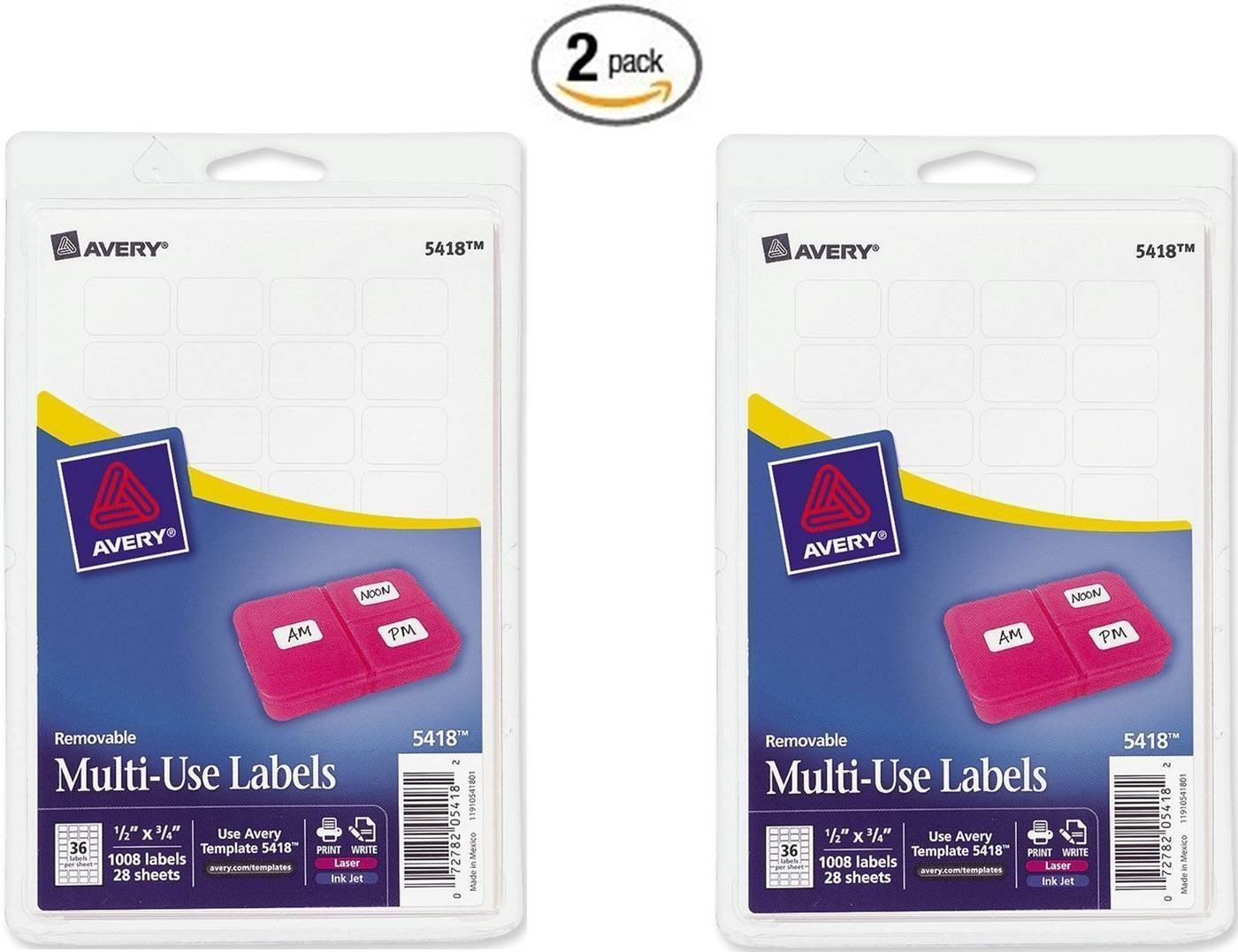 Amazon Avery 05418 75 Print Or Write Labels Pack Of 2