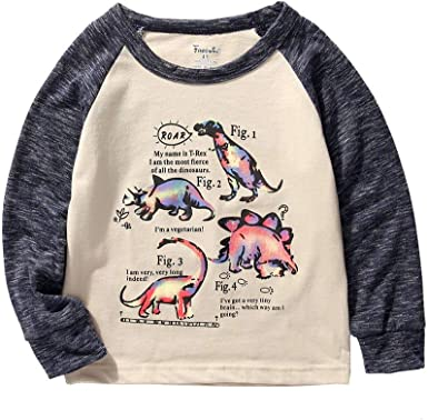 ROWEY Boys 2-Pack Dinosaur Long Sleeve T-Shirt 100/% Cotton Toddler Tops Tee
