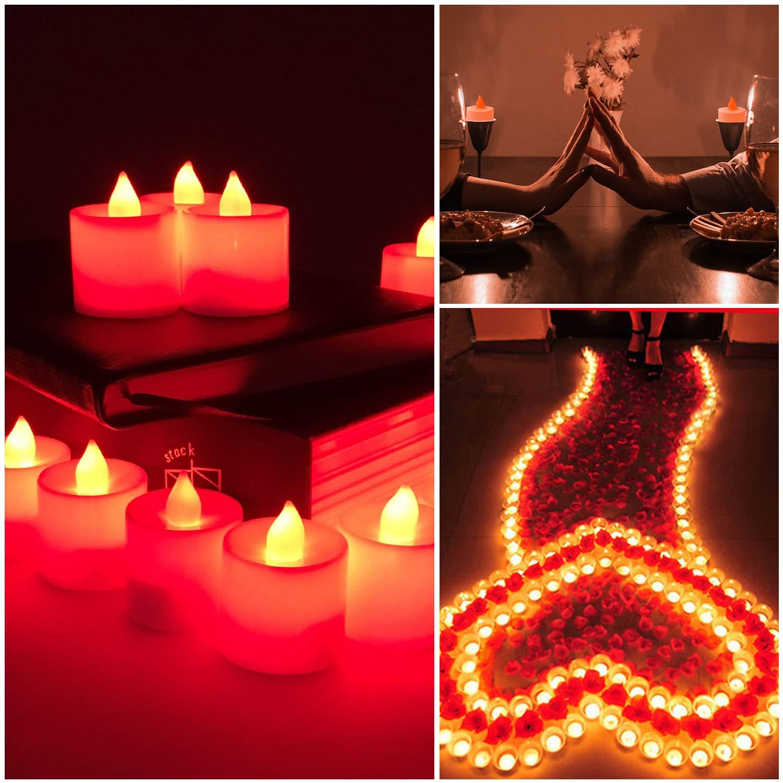 TechKen Lot de 24 bougies LED sans flamme vacillantes /à piles pour bougies chauffe-plat /électriques scintillantes d/écoration Saint-Valentin mariage f/ête m/èche mobile r/éaliste pour la maison