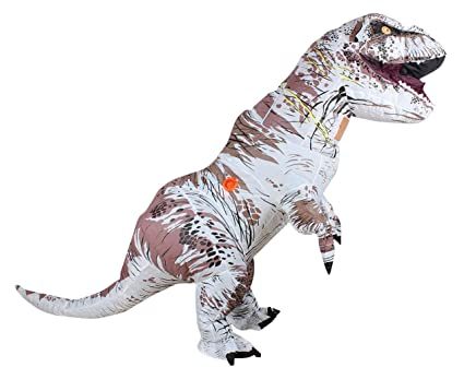Zi Xi & Zi Qi T-Rex Traje de Fiesta de la Mascota del Dinosaurio Inflable Vestido Cosplay Outfit(Blanco)