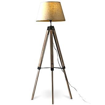 MOJO® Stehlampe Höhenverstellbar Stehleuchte Tripod Lampe Dreifuss (Schirm  Beige, Beschläge Schwarz) Mq