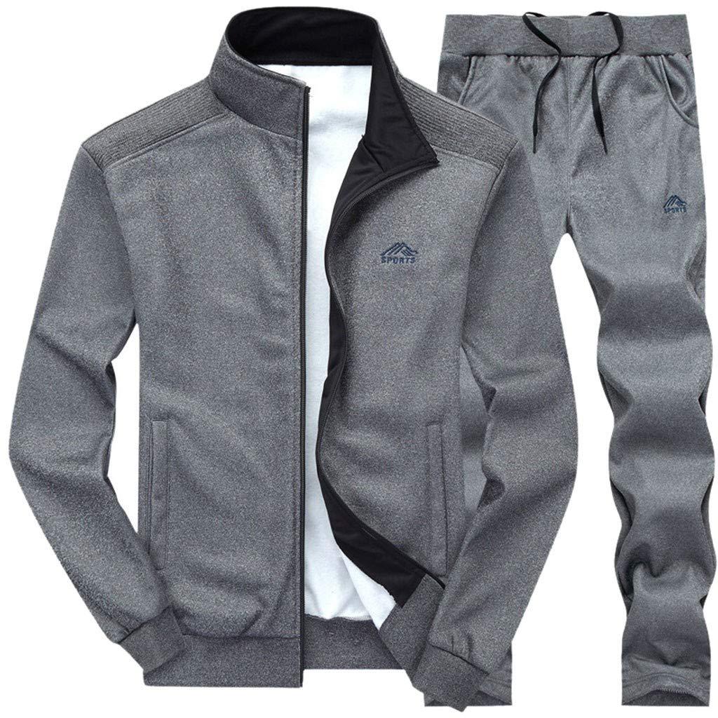 FEDULK Men's 2PCs Autumn Winter Sweatshirt Tops Pants Sets Casual Sport Suit Tracksuit(Dark Gray, Large) by FEDULK