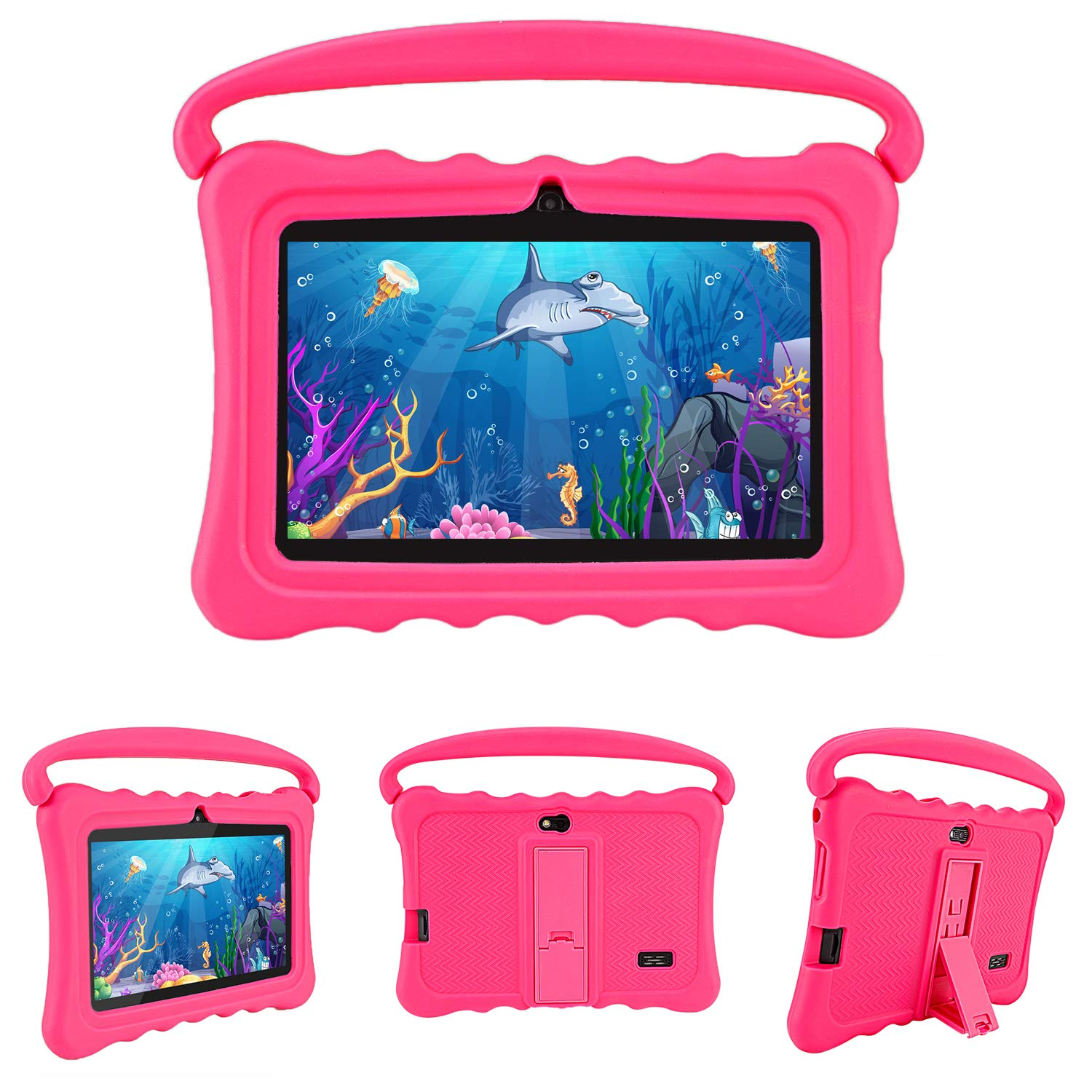 "Kids Tablet PC, Veidoo Quad Core, 1GB RAM 8GB ROM, 7"" IPS Display, Kid-Friendly iWawa APP, Child-Proof Case with Handle and Kickstand, Best Gift Choice for Children (Pink)"