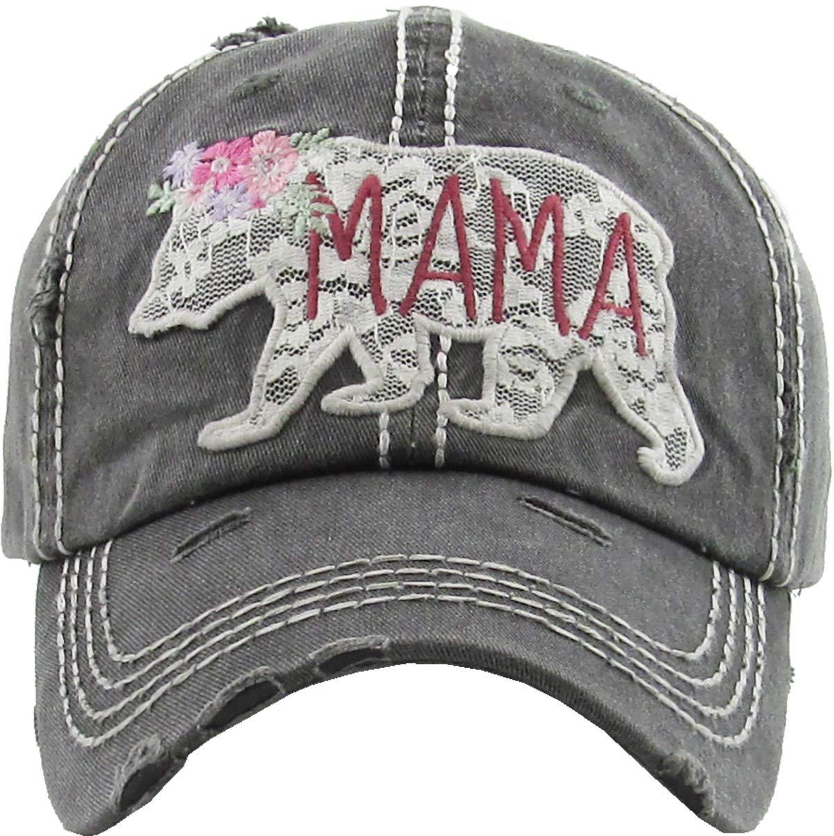 H-212-MBL06 Distressed Baseball Cap Vintage Dad Hat - Mama Bear Lace (Black)